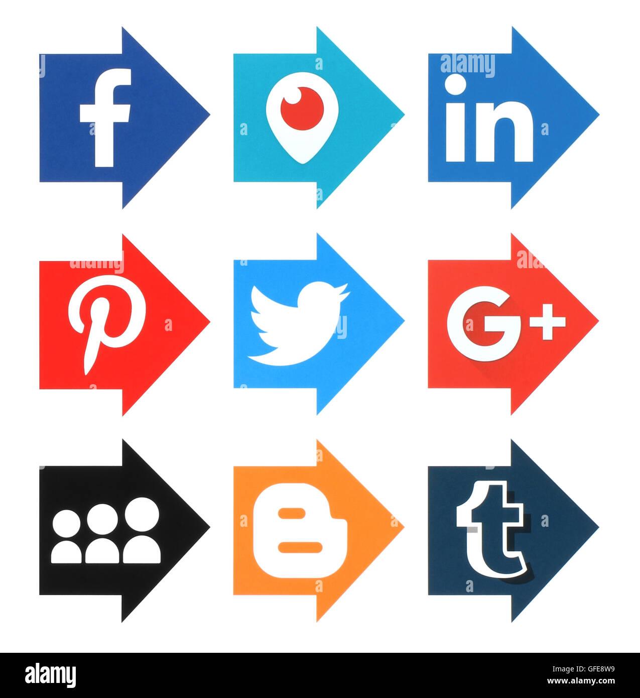 Kiev, Ukraine - April 19, 2016: Collection of popular arrow shape social media logos printed on paper:Facebook, - Stock Image