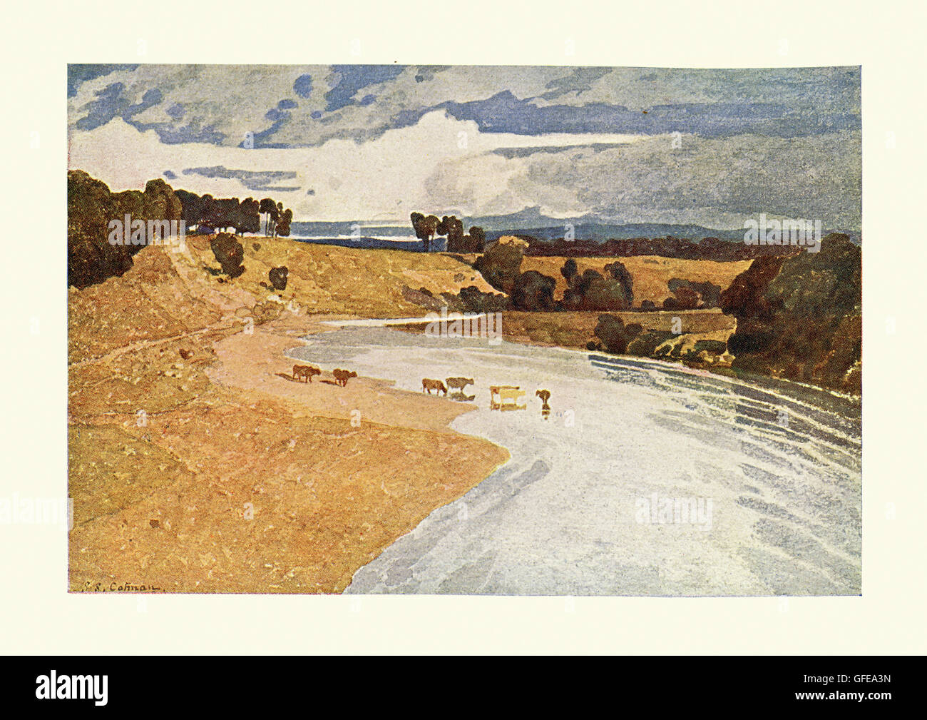 Landscape with River, after the watercolour by John Sell Cotman - Stock Image