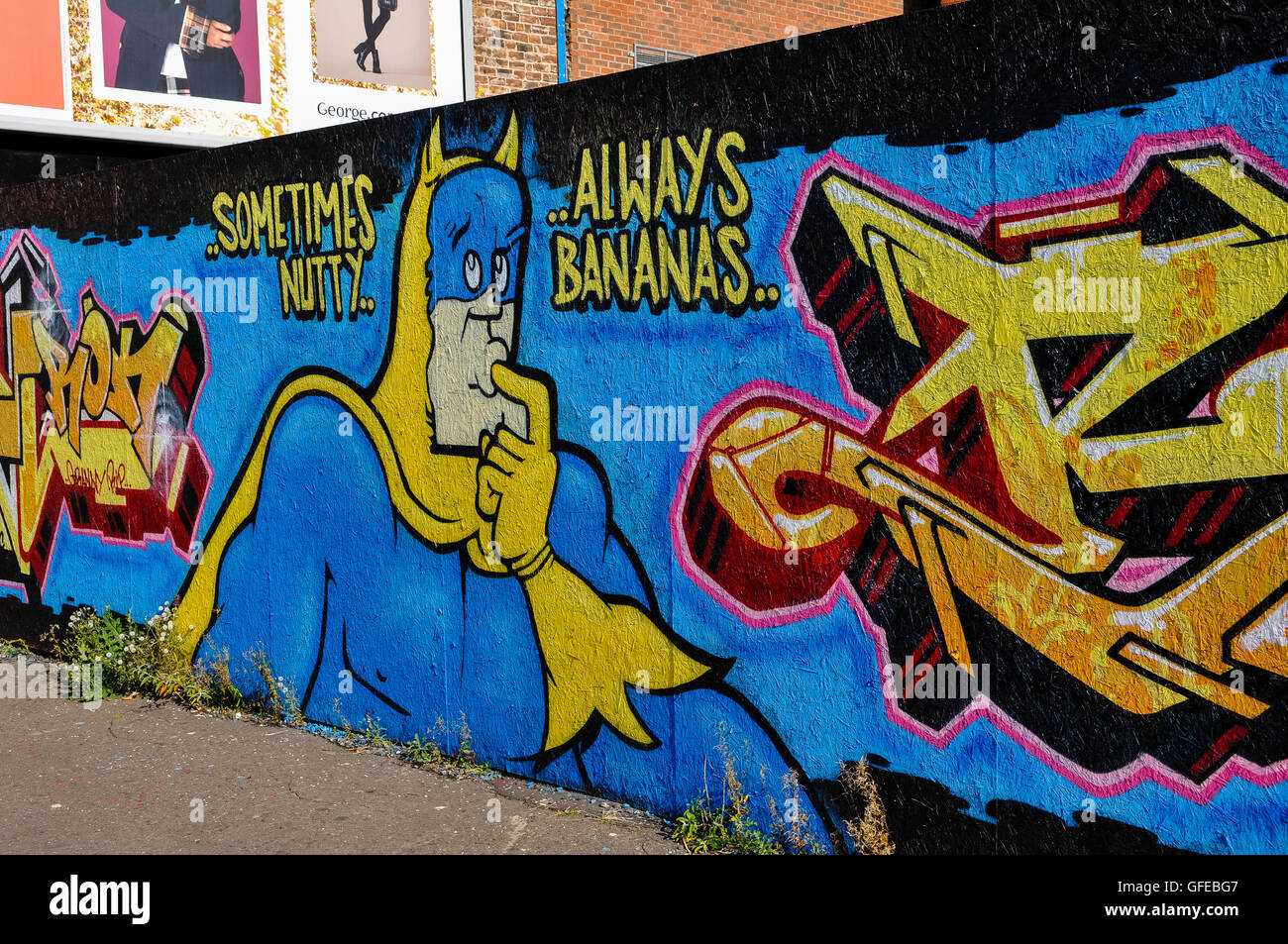 Graffiti featuring the 1980s cartoon character bananaman from nutty comic and slogan