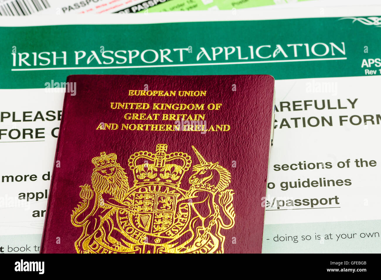 British Passport Application Form To Print, Passport For The United Kingdom Of Great Britain And Northern Ireland On An Application Form For An Irish Passport, British Passport Application Form To Print