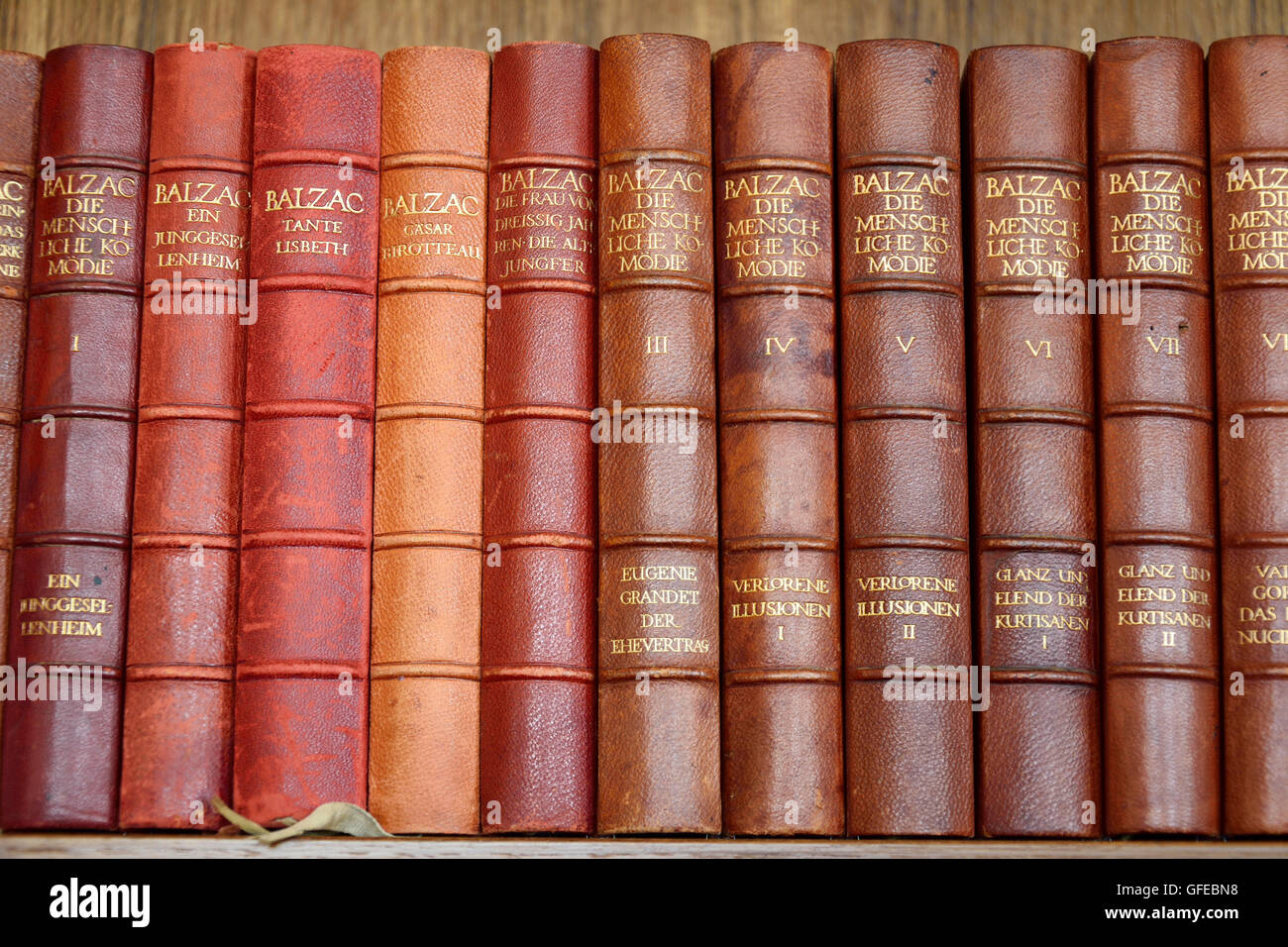 Collection Of Balzacs Old Books In German Language On A Bookshelf