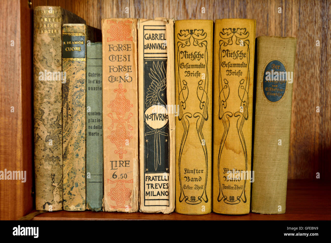 Collection Of Old Books In German Language On A Bookshelf