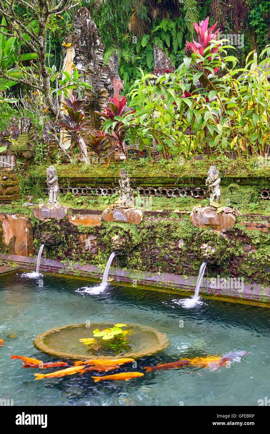 Holy springs at Pura Gunung Kawi Temple, Bali, Indonesia - Stock Image