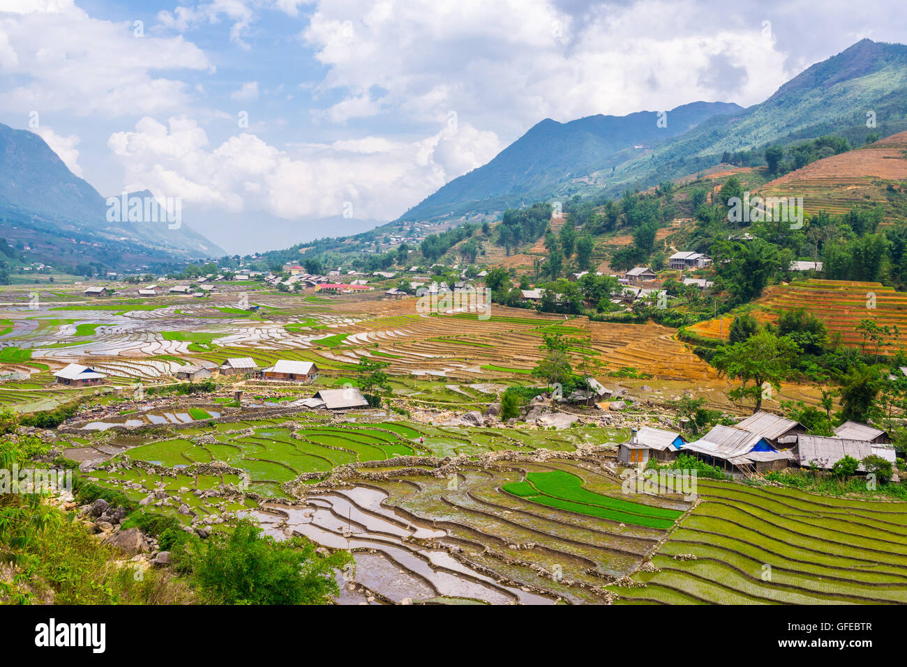 Traditional North Vietnamese rural landscape with small villages and rice paddies in Sapa, North Vietnam. - Stock Image