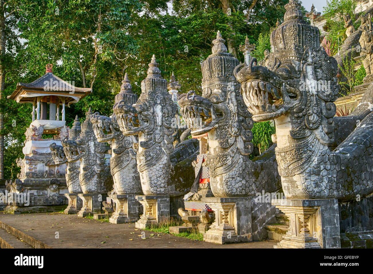 Faces of dragons in front of Pura Penataran Lempuyang Temple, Bali, Indonesia - Stock Image