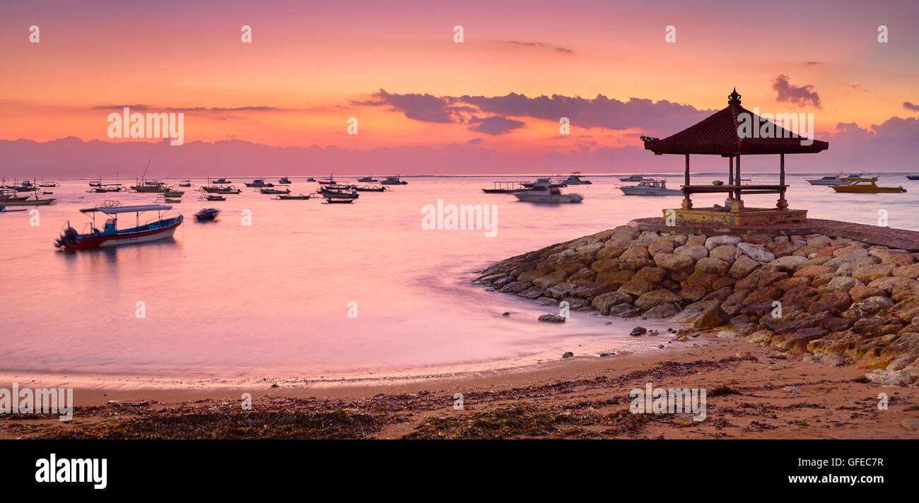 Sanur Beach at sunrise, Bali, Indonesia - Stock Image