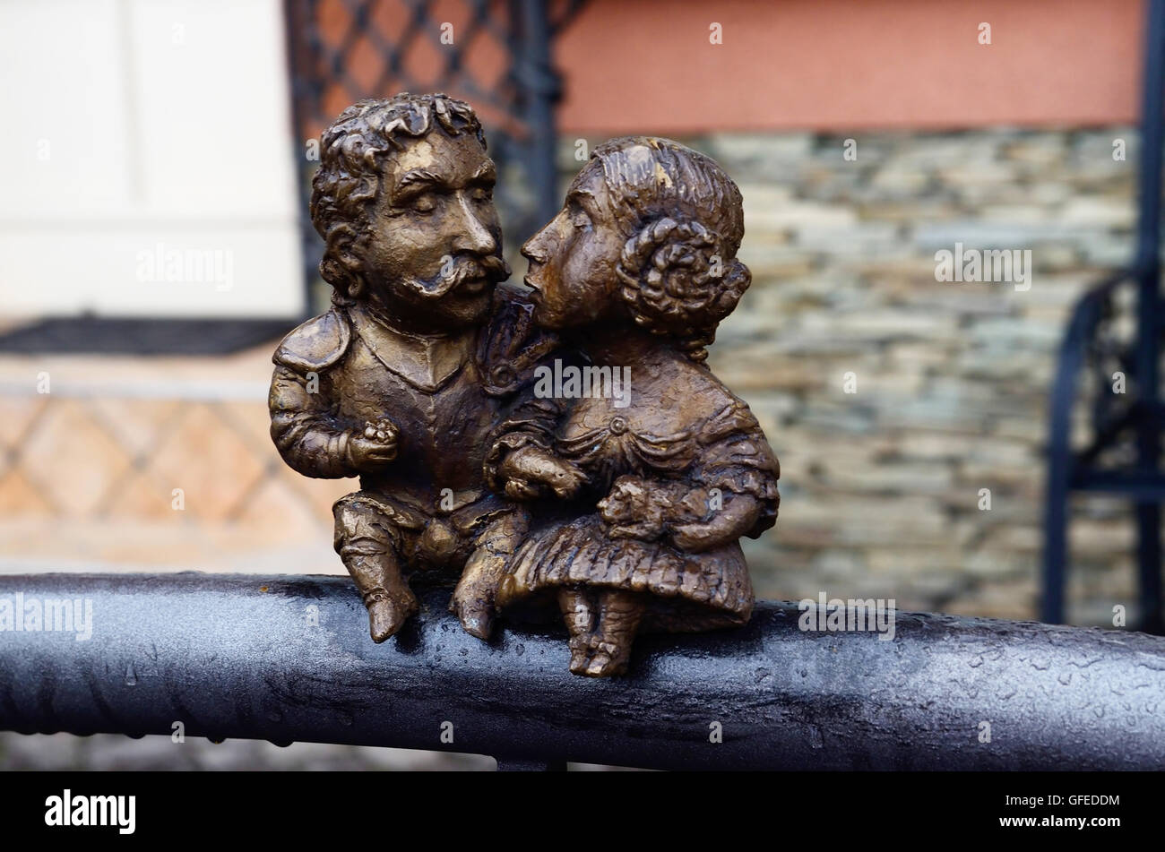 UZHGOROD,UKRAINE - DECEMBER 12,2015:Small bronze statue dedicated to hungarian statesman count Bercsenyi Miklos - Stock Image