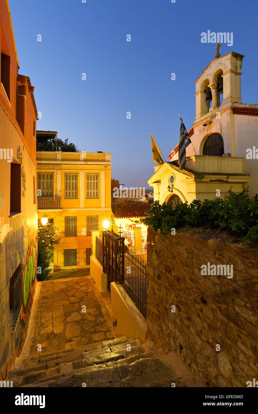 Church in a street of the old town Plaka in the centre of Athens. - Stock Image