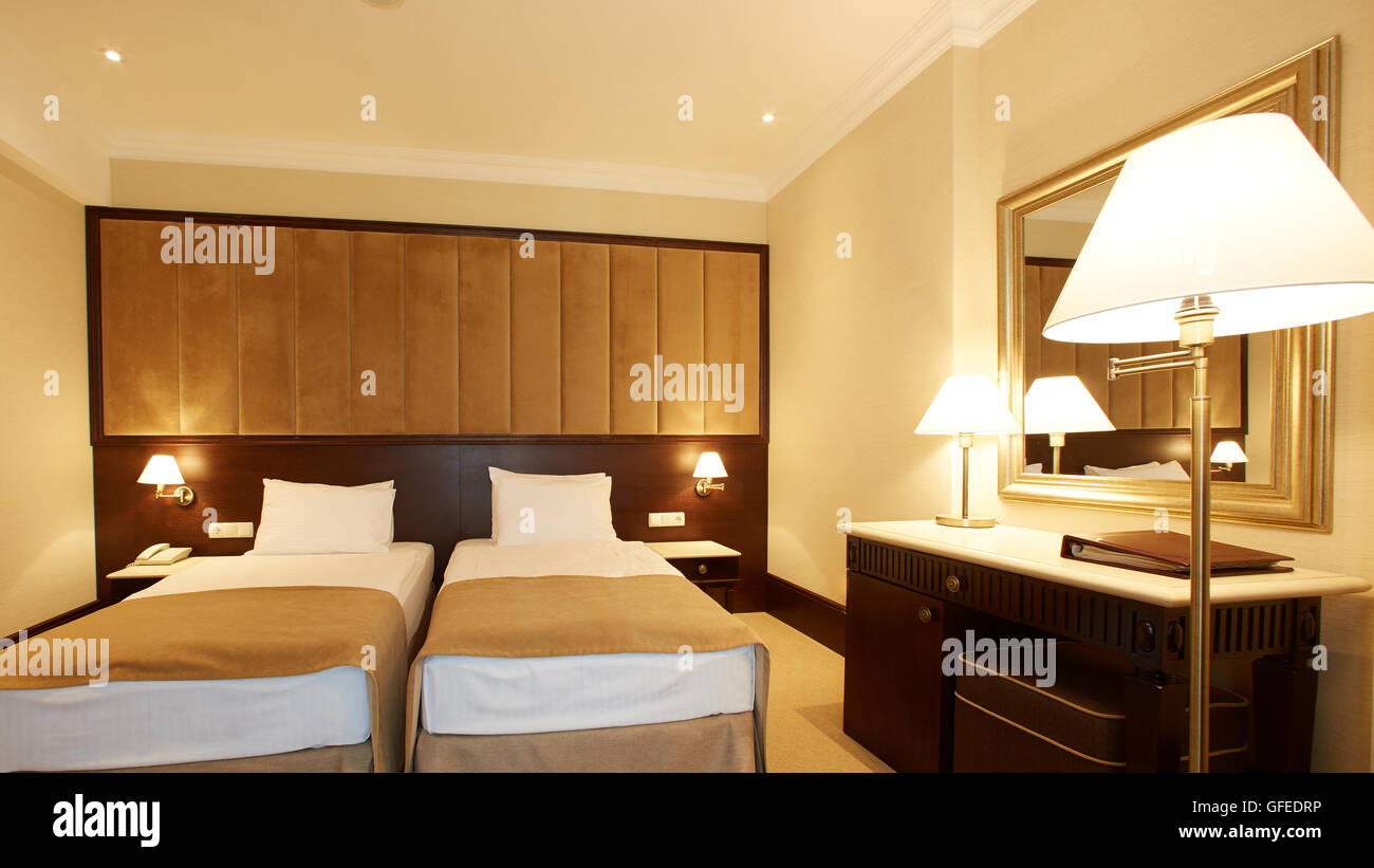 interior of double bed room - Stock Image