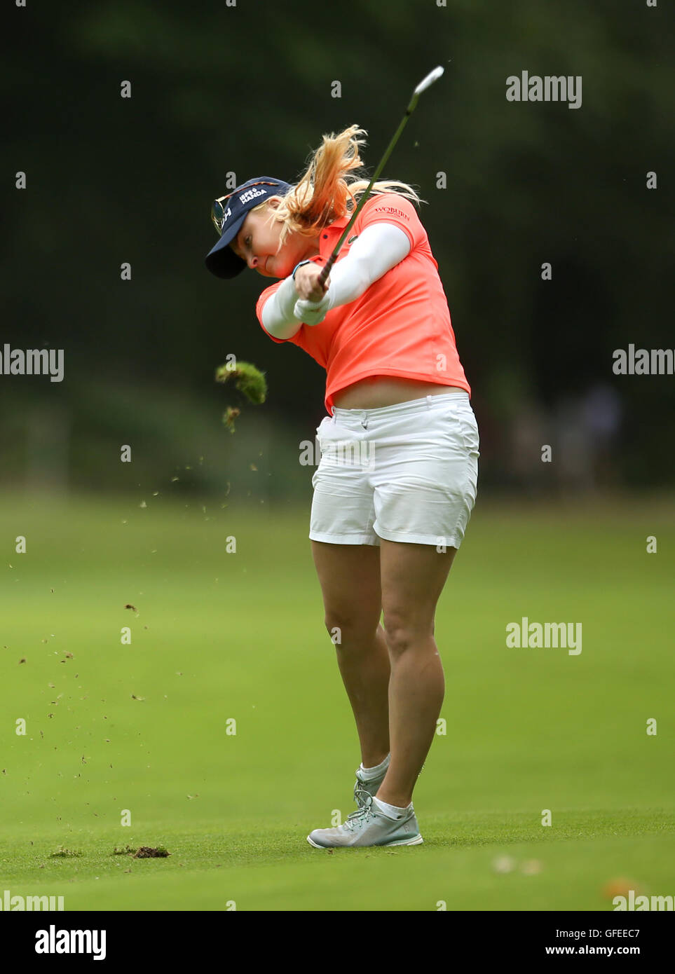 England's Charley Hull plays off the fairway during day four of the Ricoh Women's British Open at Woburn - Stock Image