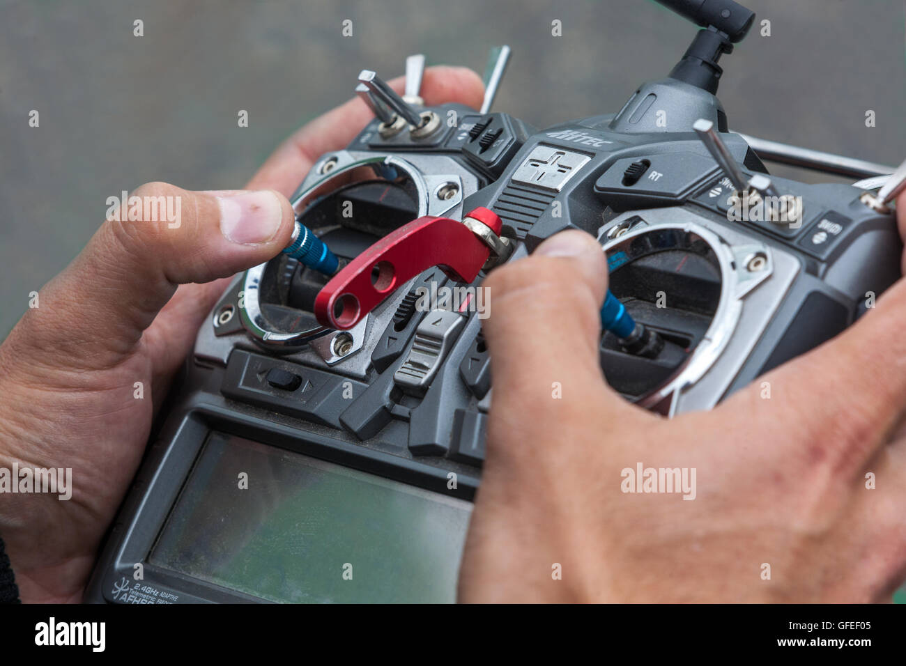 Radio control panel for drone - Stock Image