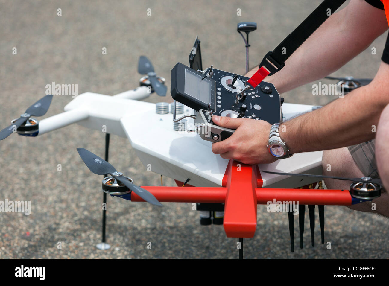 Drone Control Stock Photos Images Alamy Dji Phantom 2 Vision Central Circuit Board Rc Hobbies Preparation And Radio Panel For A Image