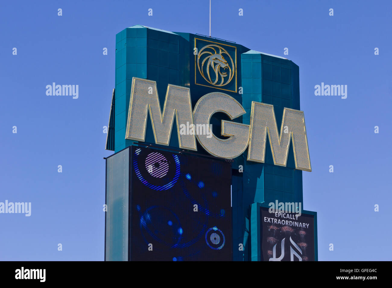Las Vegas - Circa July 2016: Signage of the MGM Grand Hotel. This Property is a Subsidiary of MGM Resorts International - Stock Image