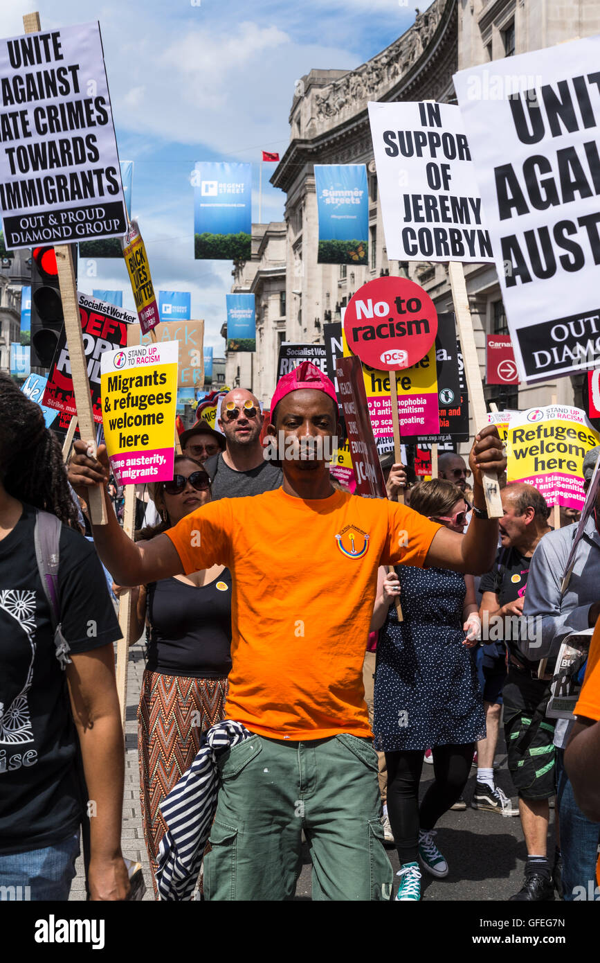 No More Austerity - No To Racism - Tories Must Go, demonstration organised by Peoples Assembly, Saturday July 16th - Stock Image