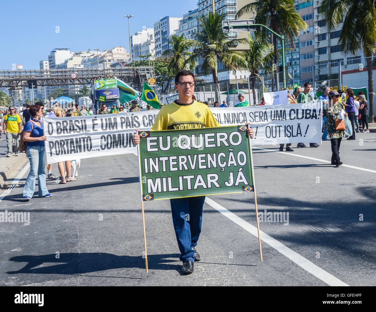 Anti-corruption protestors gather on Copacabana beach to vent their frustration at the current political situation - Stock Image