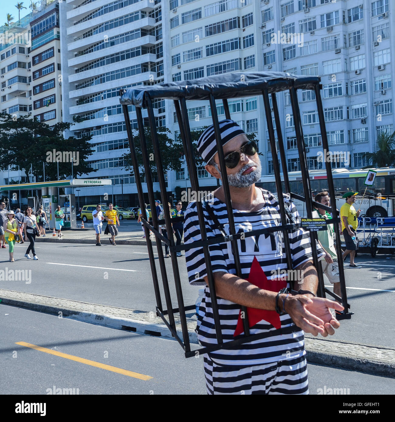 Anti-corruption protesters gather on Copacabana beach to vent their frustration at the current political situation - Stock Image
