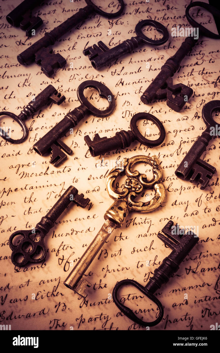 Old Keys And Document - Stock Image
