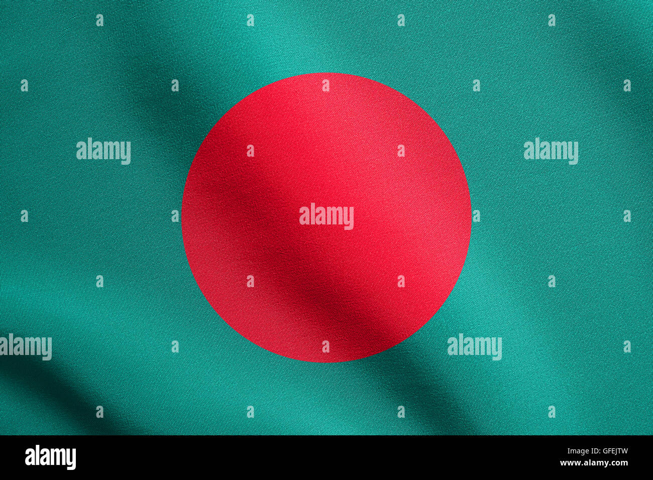 Flag of Bangladesh waving in the wind with detailed fabric texture. Bangladeshi national flag. - Stock Image