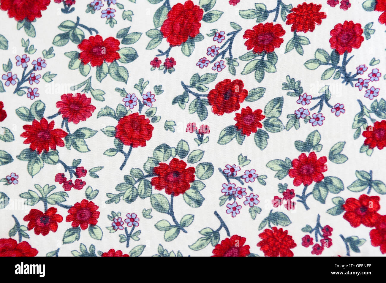 close up of printed Floral design on fabric - Stock Image