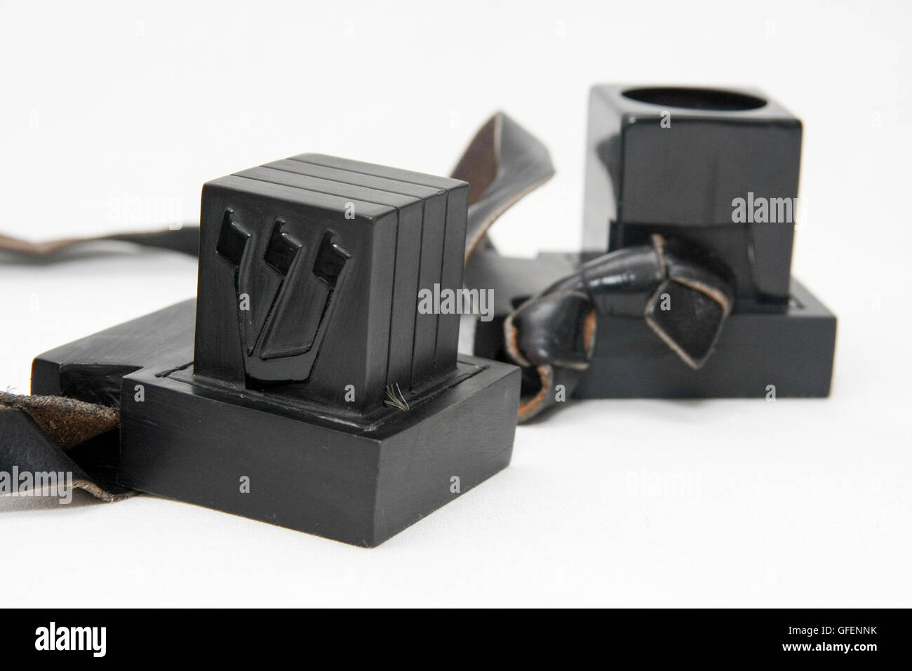 Cutout of Tifillin on white background - Stock Image