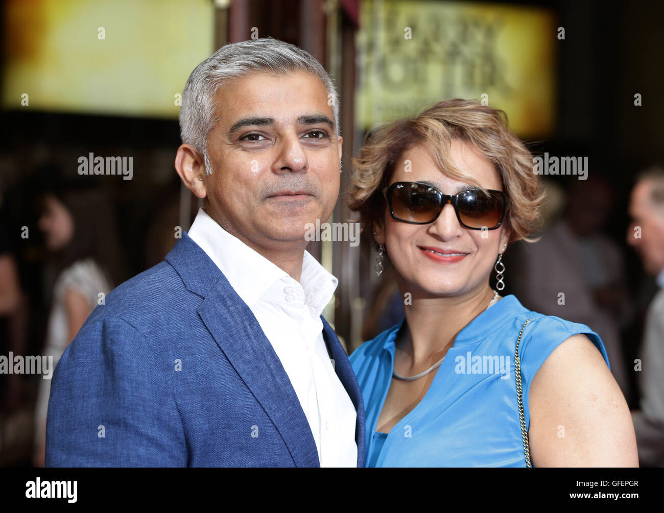 Mayor of London Sadiq Khan and his wife Saadiya Khan arriving for the opening gala performance of Harry Potter and - Stock Image