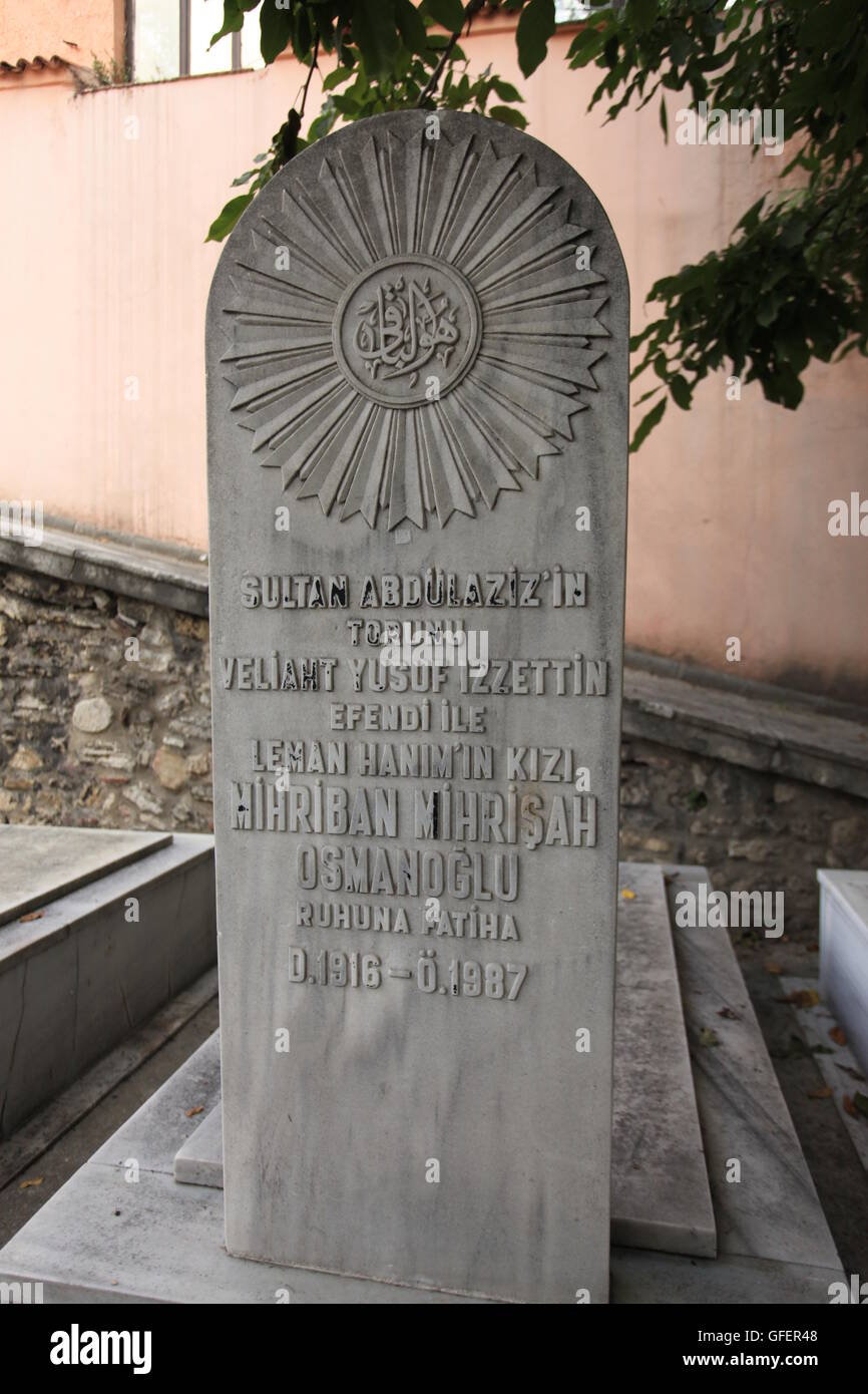 Grave of Mihriban Mihrisah Sultana in Aksaray, Istanbul