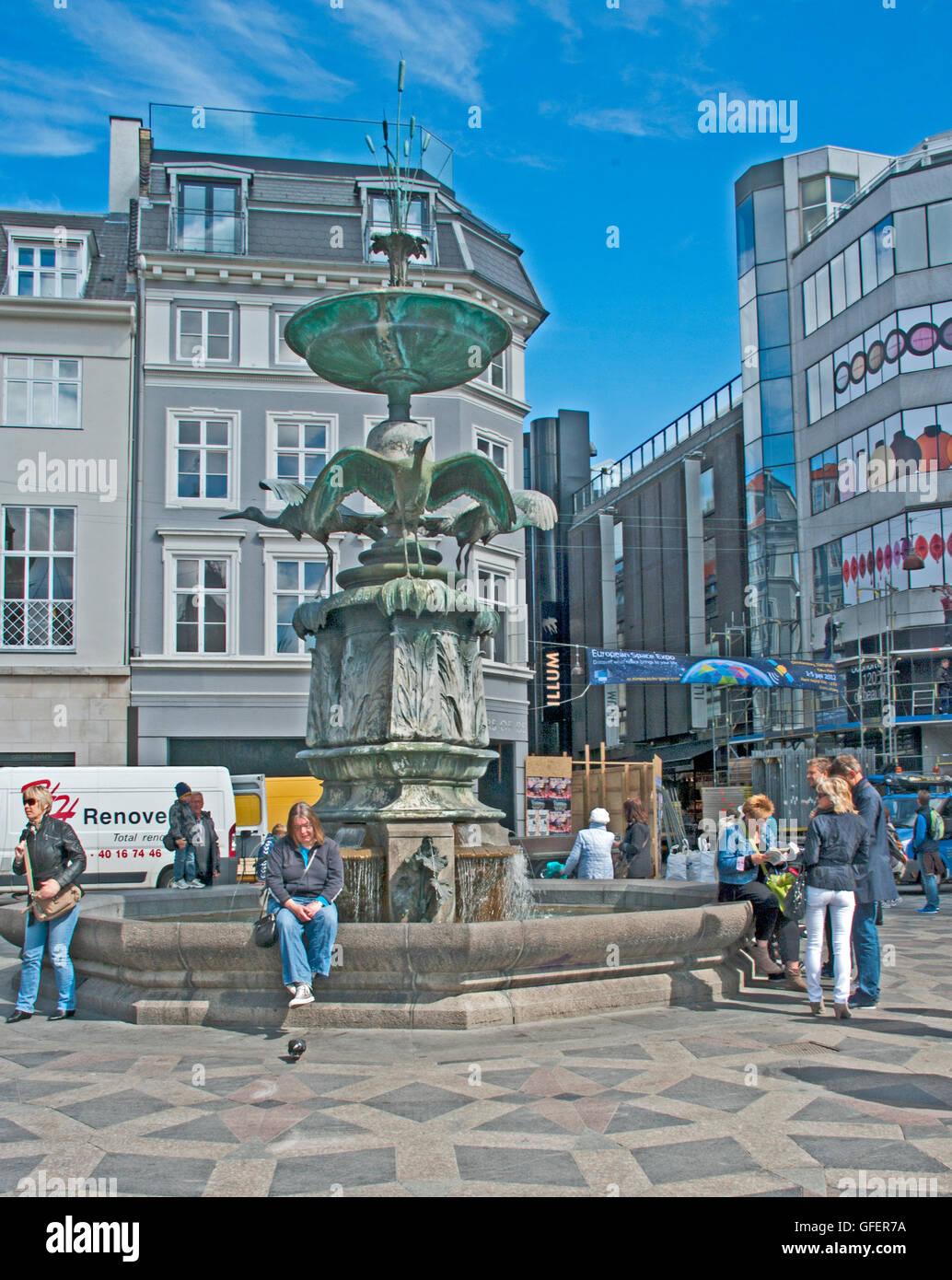 Stork Fountain, Amagertory Square, Copenhagen, Denmark, - Stock Image