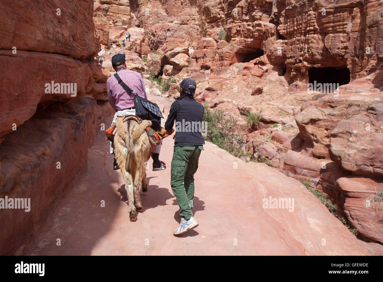 Tourist on a donkey inside the lost city of Petra. Jordan. - Stock Image