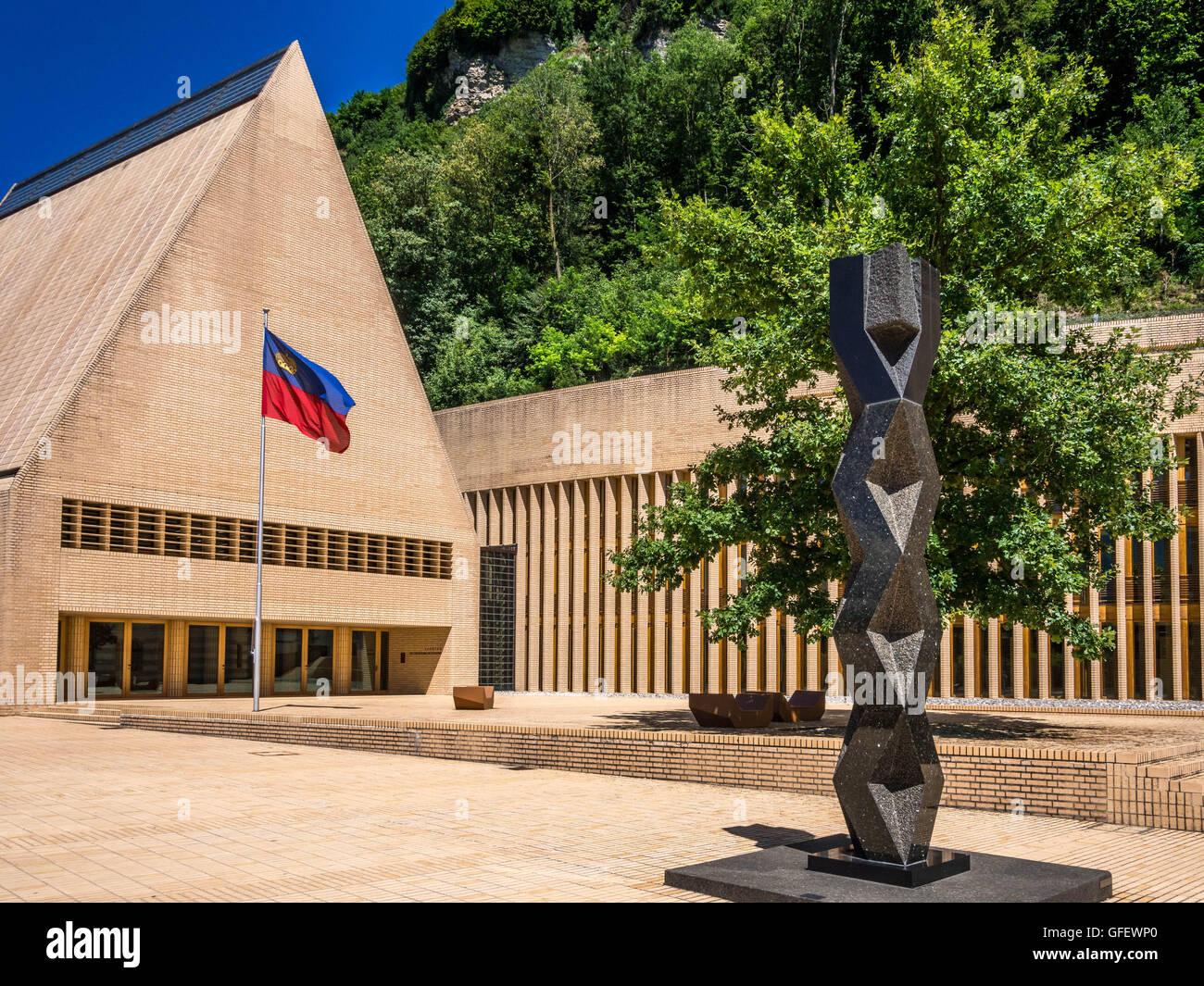 Parliament and government buildings, Vaduz, Principality of Liechtenstein, Europe Stock Photo