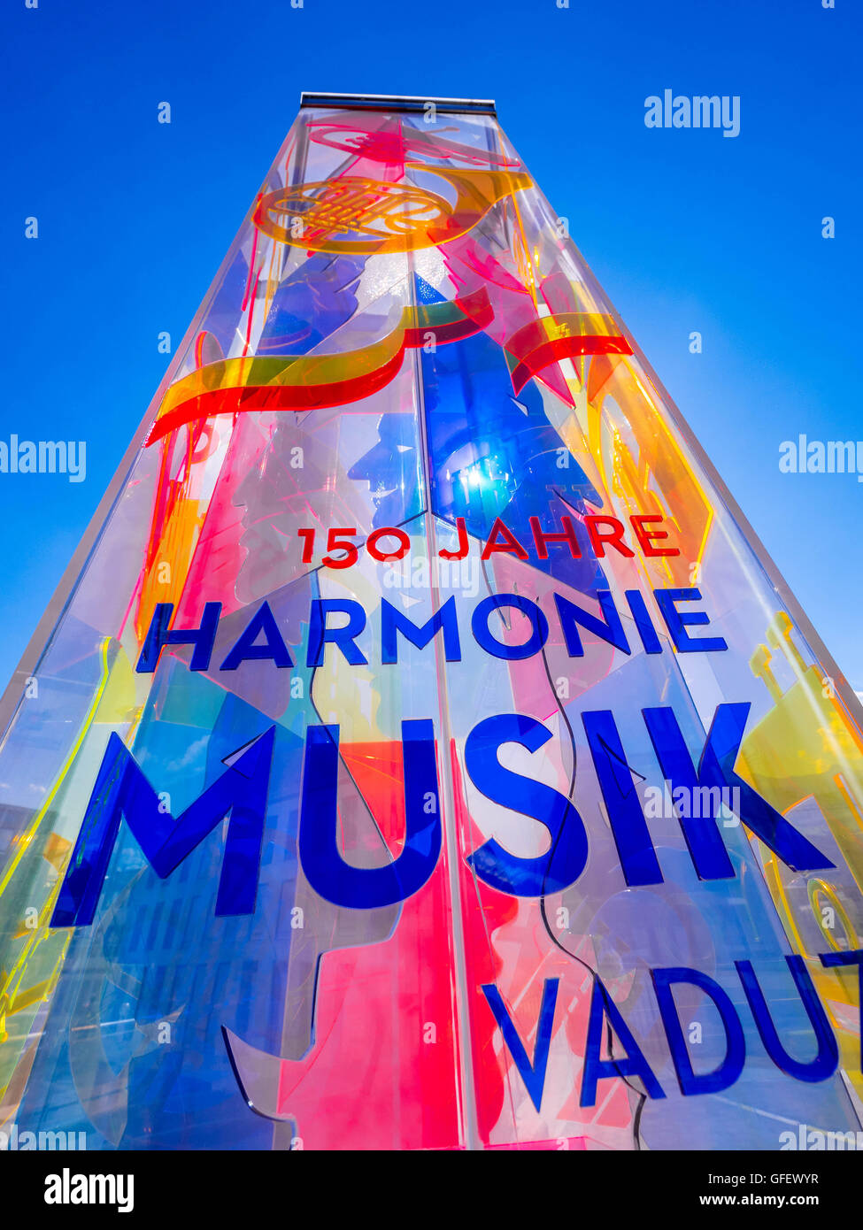 Colorful advertising column in Vaduz, Liechtenstein, Europe - Stock Image