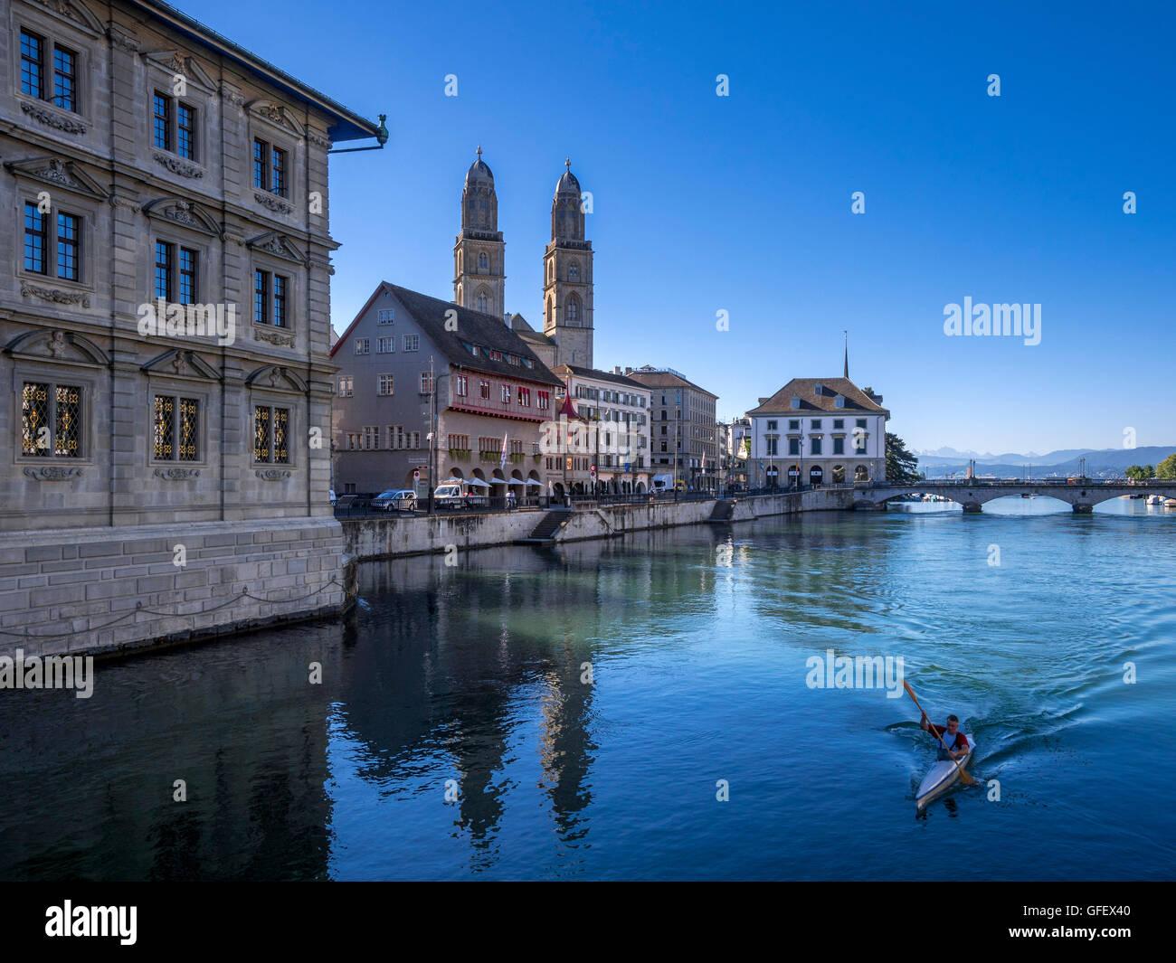 Grossmunster and Limmatquai in Zurich,  Switzerland, Europe - Stock Image