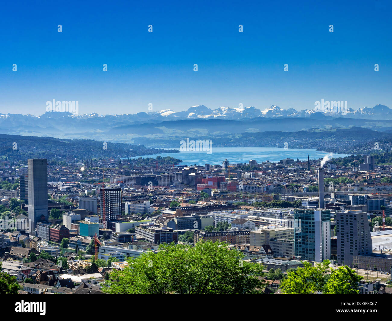 View of Zurich and Lake Zurich, the Alps, Switzerland, Europe - Stock Image