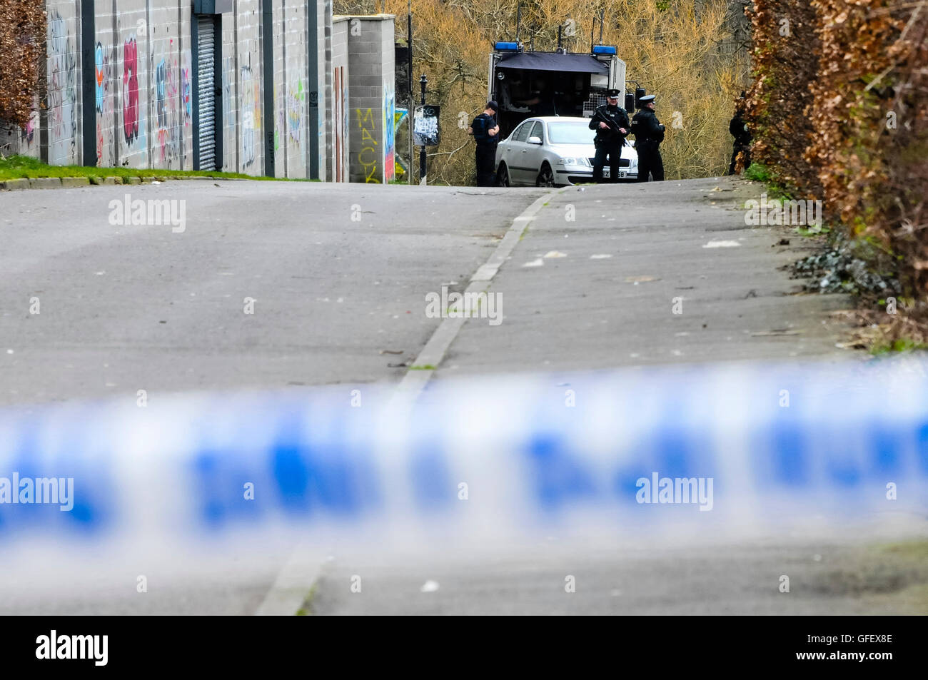 Belfast, Northern Ireland. 17 Mar 2014 - The Waterworks Park in North Belfast was closed following the discovery - Stock Image