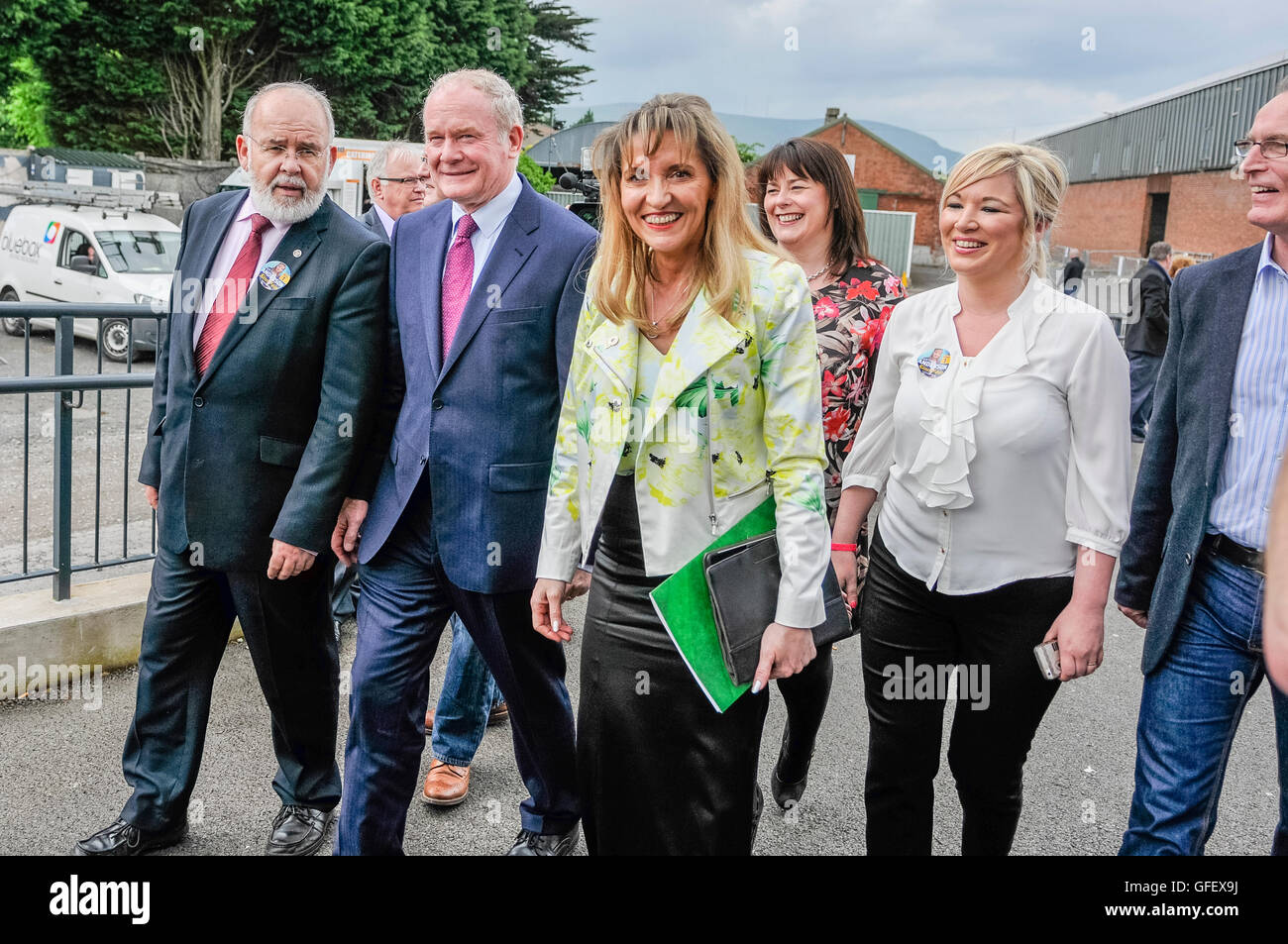 Belfast, Northern Ireland. 26 May 2014 - Sinn Fein candidate Martina Anderson arrives at EU counting station with - Stock Image