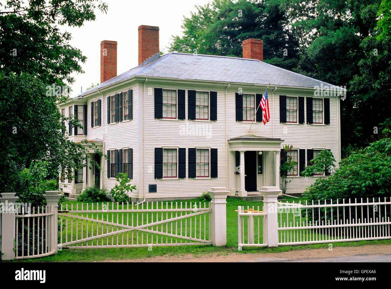 House once home of writer Ralph Waldo Emerson in historic village of Concord, near Boston, Massachusetts, New England, - Stock Image