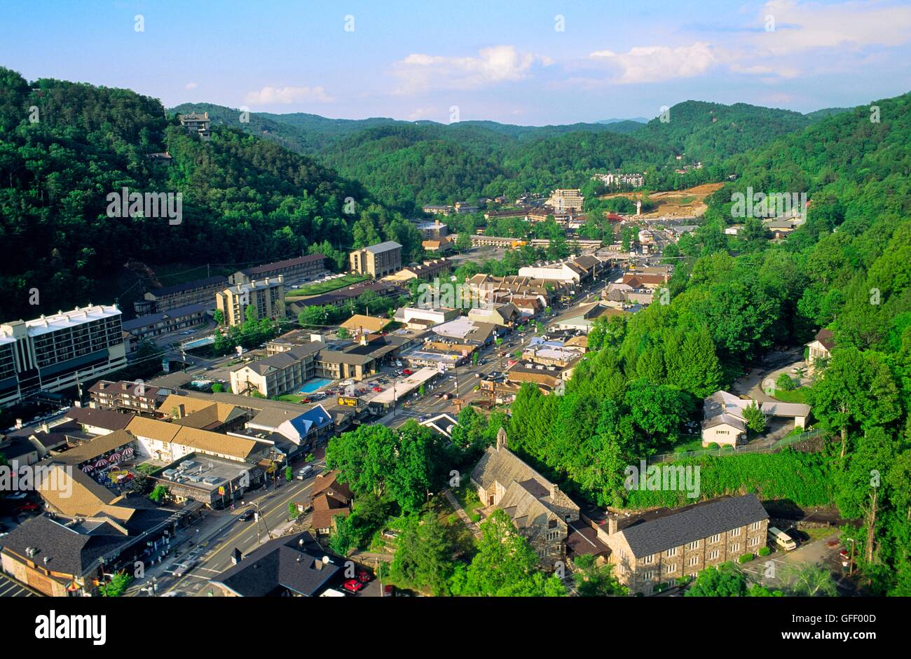the great smoky mountains resort town of gatlinburg. tennessee, usa