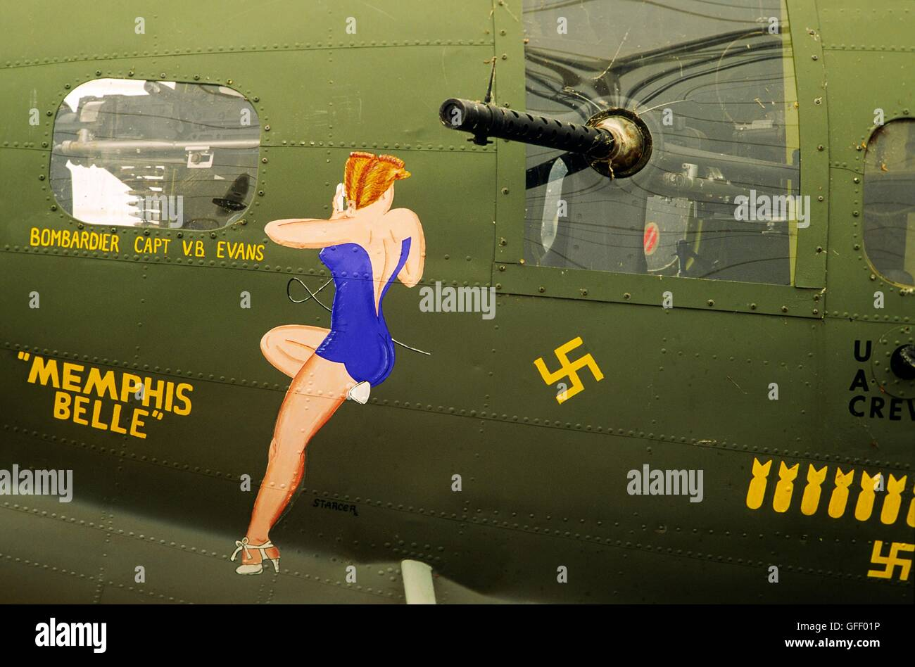 Memphis Belle B-17 World War Two bomber airplane on display at Mud Island, Memphis, Tennessee, USA. Pin-up decal - Stock Image
