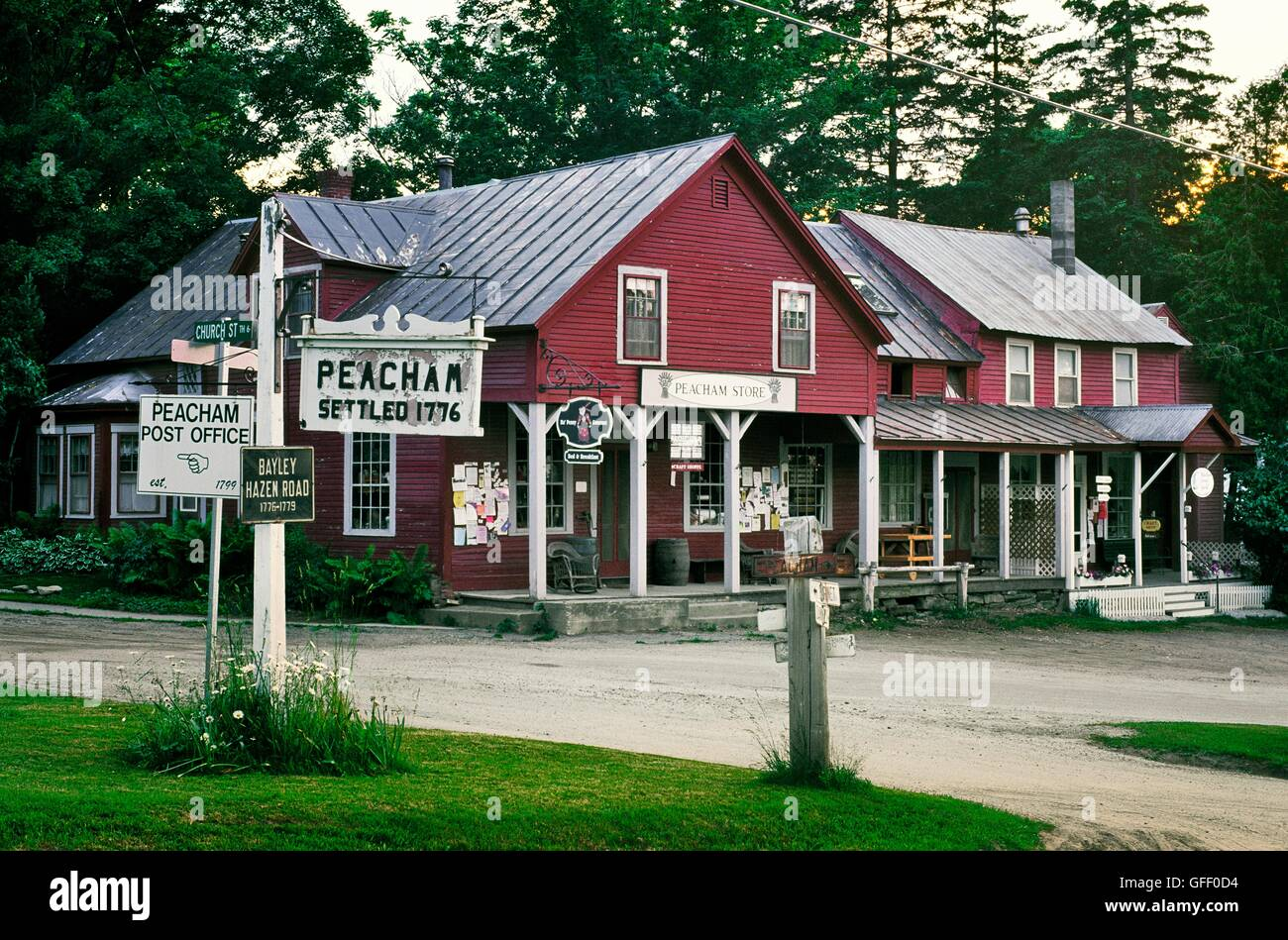 Signs And The Peacham Store And Craft Shop In The Old New England