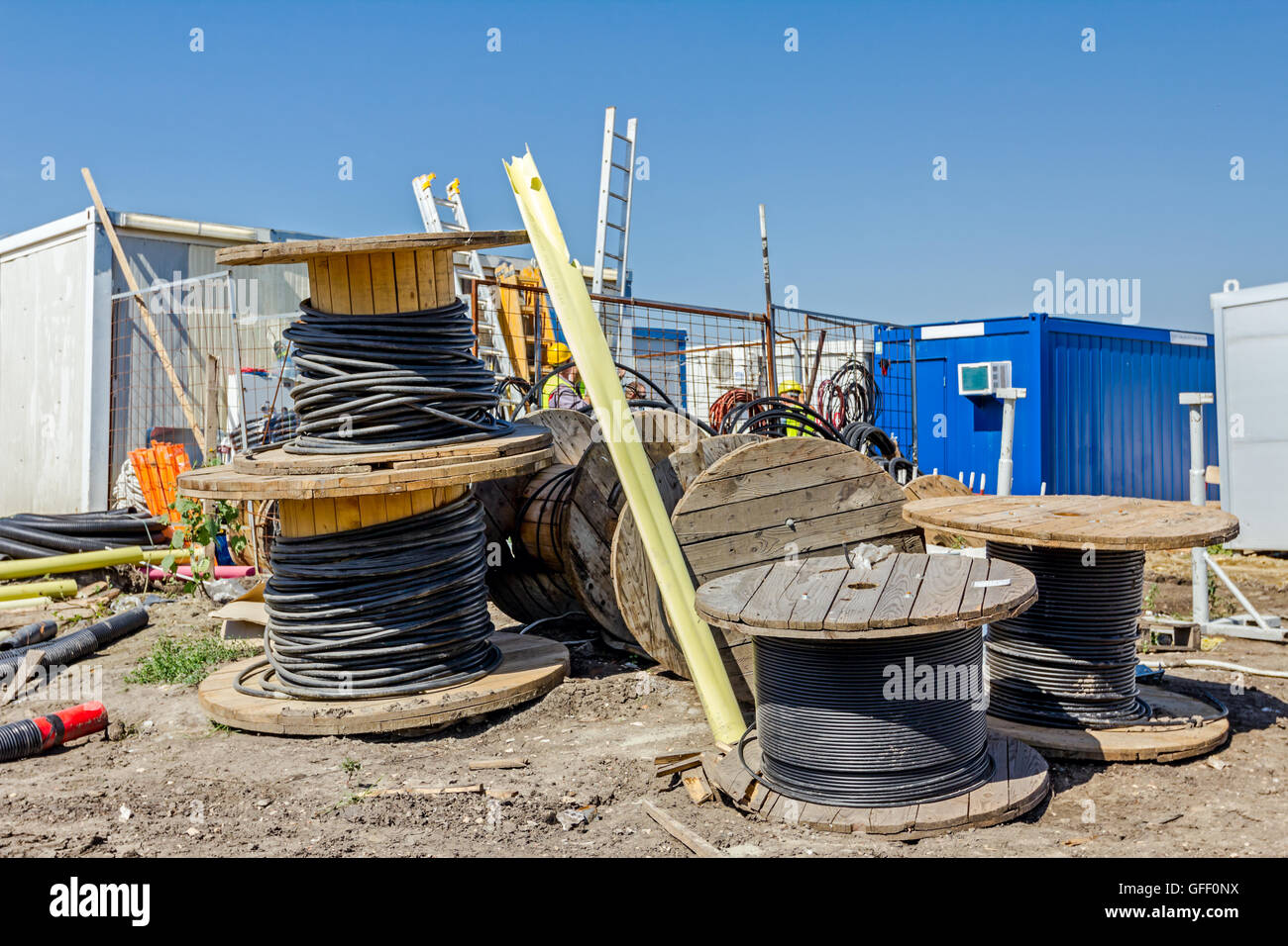 Makeshift storage material, HDPE and PVC various type of pipe for different usage at construction site in the improvised - Stock Image