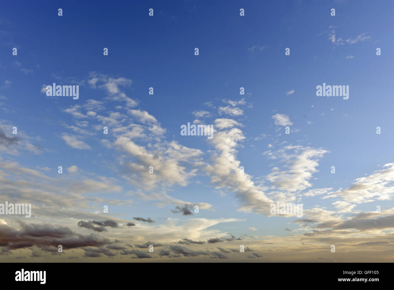 Sky background during evening sunset time with clouds Stock Photo
