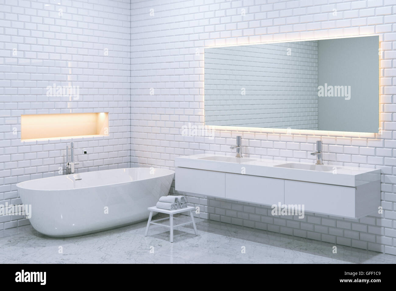 White luxury bathroom interior with brick walls. 3d render Stock ...