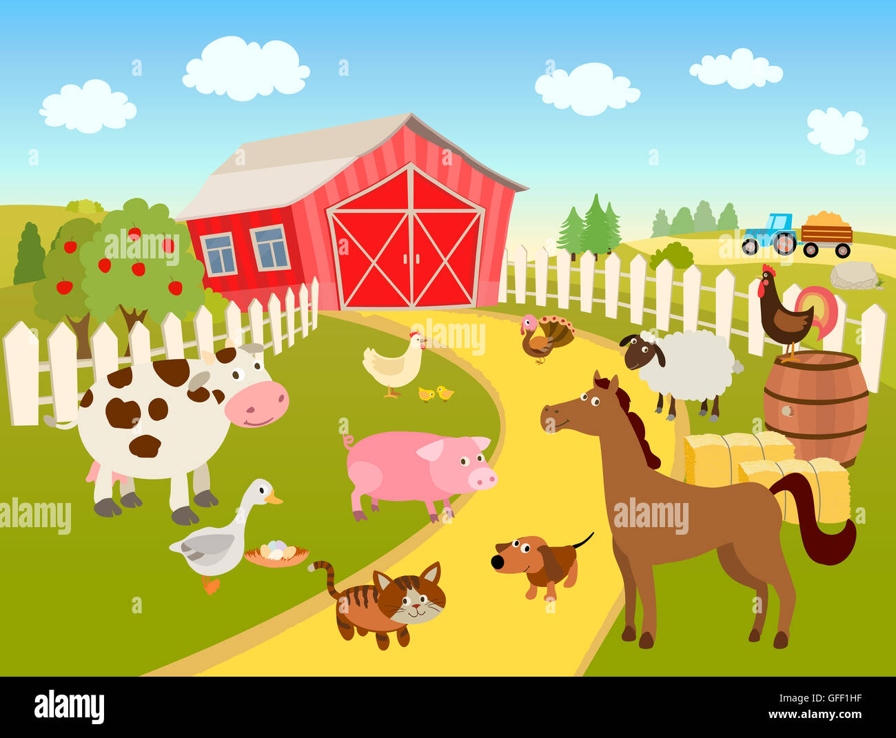 Farm Animals And Items And A Farm House Stock Photo 112812603 Alamy