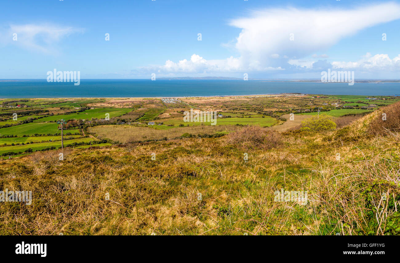 Panoramic view on Tralee Bay, Mountoven, Dingle Peninsula, County Kerry, Munster Province, Republic of Ireland. Stock Photo