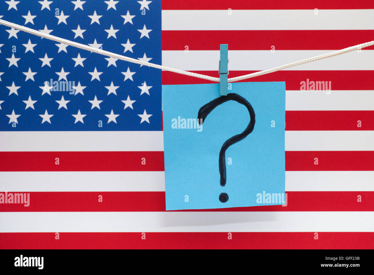Question mark and american flag. Close up. - Stock Image