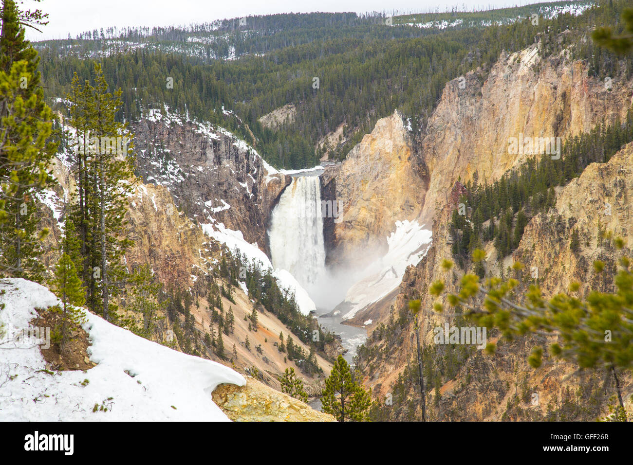 Waterfall in Yellowstone National Park USA - Stock Image