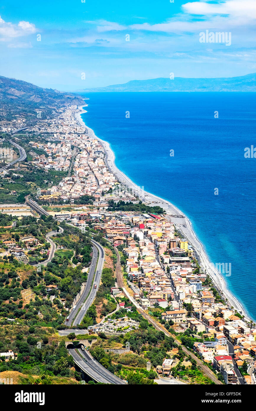 a view of the coast from Forza d'Agro, Sicily, Italy - Stock Image