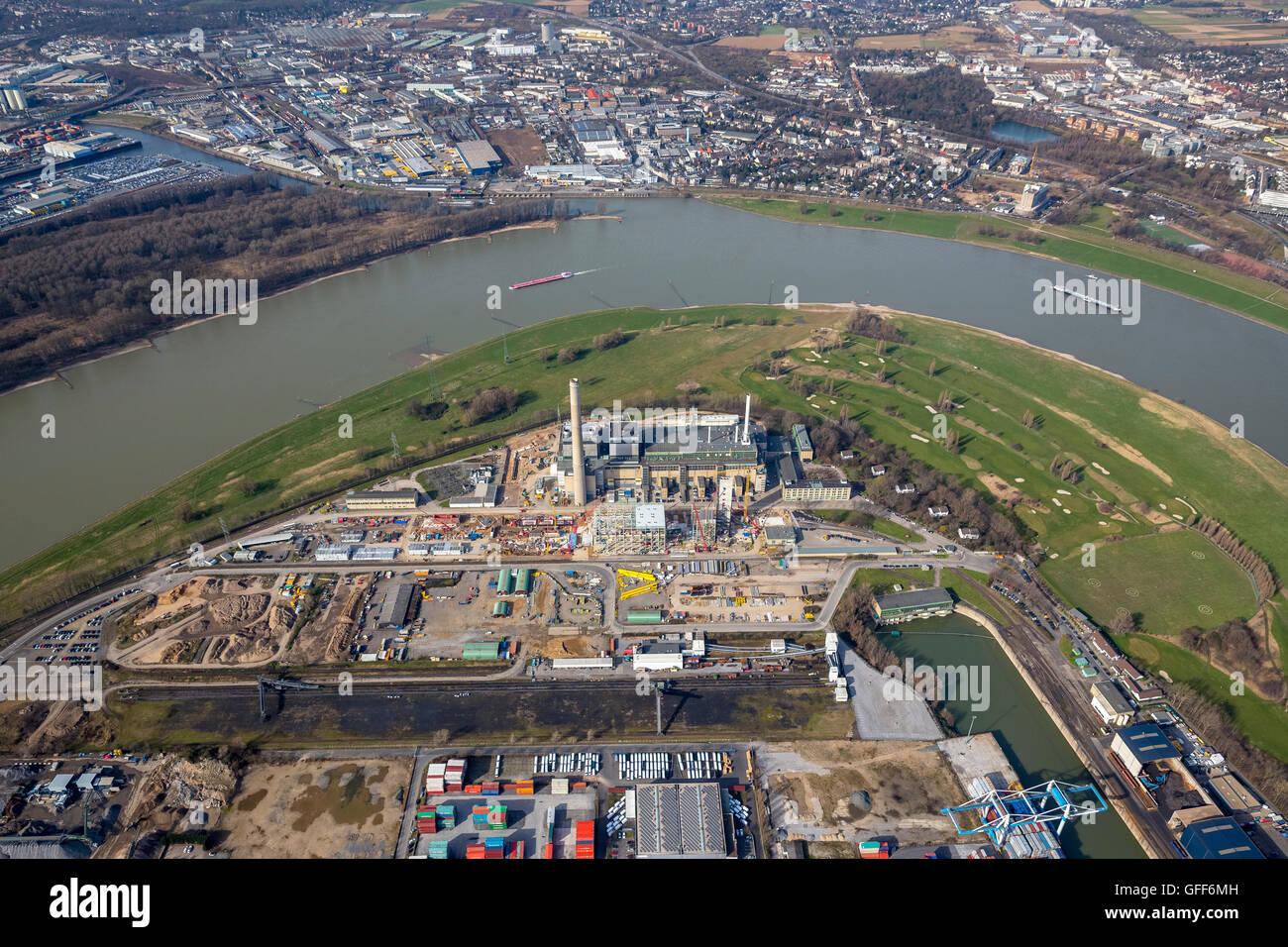 Aerial view, powerplant, Lausward the Rhine bow, Stadtwerke Duesseldorf, Duesseldorf, Rhineland, North Rhine-Westphalia, - Stock Image