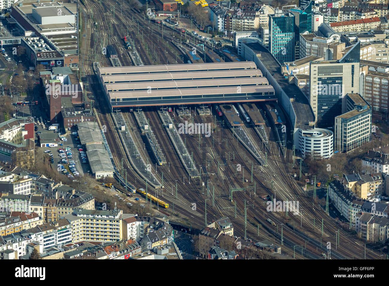 Aerial view, main station Düsseldorf, Duesseldorf, Rhineland, North Rhine Westphalia, Germany, Europe, Aerial - Stock Image