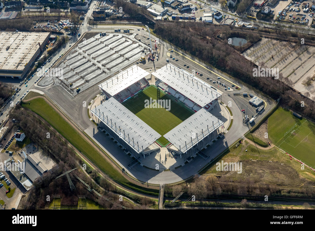 aerial view new stadium rot weiss essen rwe parking in. Black Bedroom Furniture Sets. Home Design Ideas