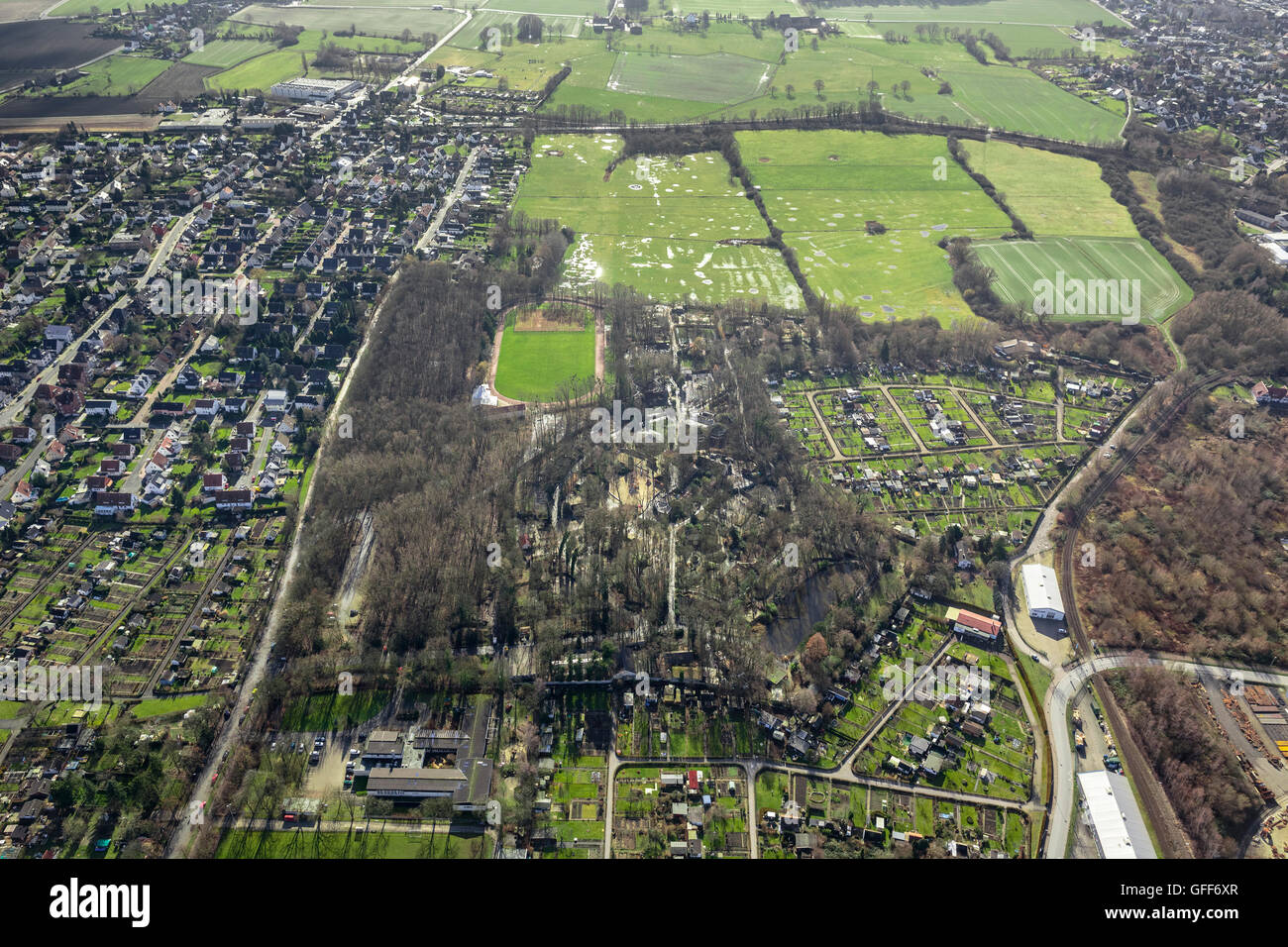 Air, Animal park Hamm, winter pictures, Hamm, Ruhr area, North Rhine Westphalia, Germany, Europe, Aerial view, birds - Stock Image